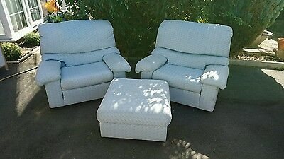 G plan arm chairs with footstool vintage