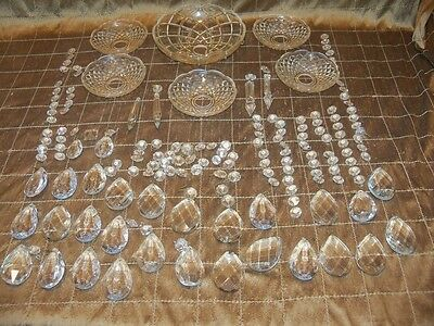 HUGE Lot Vintage Chandelier Lamp Crystals Prisms MIXED 120 pieces