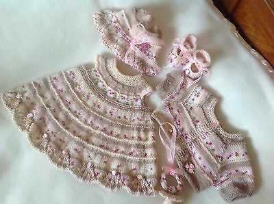 HAND KNITTED DRESS SET 5 PIECE OUTFIT FOR NEWBORN 0-3 Mths Baby OR REBORN DOLL