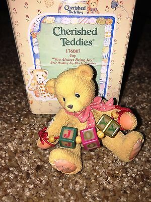 Cherished Teddies Joy Mint Rare Enesco 1996 Extremely Low Number! 176087