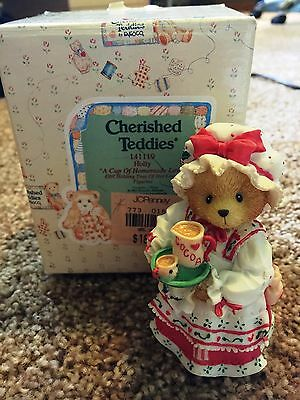 Cherished Teddies Holly Mint Rare Enesco low number! 1995