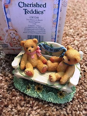 Cherished Teddies 2 Bears on a Bench Mint Rare Enesco 1996 Event Figure CRT240