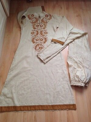 Anarkali beige with churridar gathered trousers size S cotton