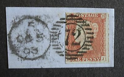 QV unplated imperf, London 72 cancel, 1853, on small piece (886)