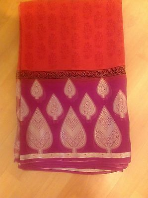 Sari Georgette With Pink Border