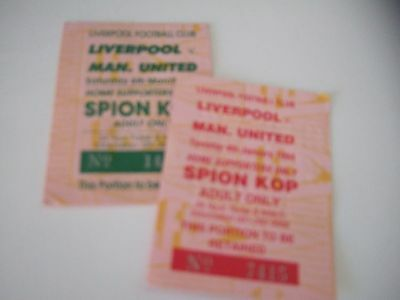 two Liverpool v. Man Utd Kop tickets 92/3 and 93/4