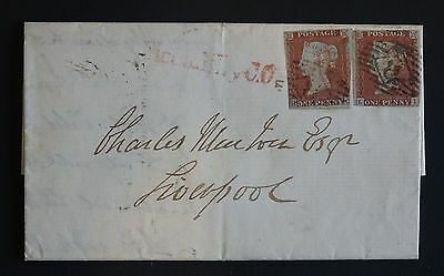 QV 2 unplated imperfs, London 8 cancel, Piccadilly CO red mark, 1848 wrapper