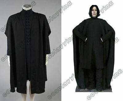 Perfect Severus Snape Costume - Shirt, Cape Cloak Robe & Wig - Harry Potter