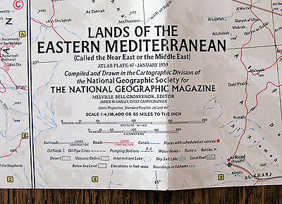 Lands of the Eastern Mediterranean  -  National Geographic Map / Poster Jan 1959