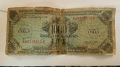 Italy Allied Military Currency 1000 Lire  1943A
