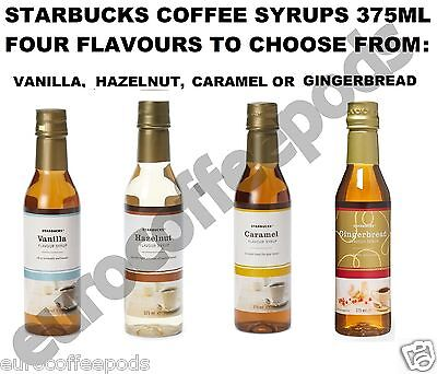 Starbucks Caramel Hazelnut Vanilla Gingerbread Flavour Syrup 375ml To Pick From