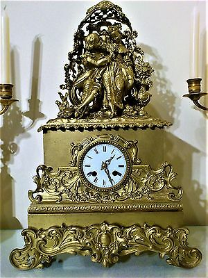 Antique French Gilt Bronze Figural Mantel Clock.