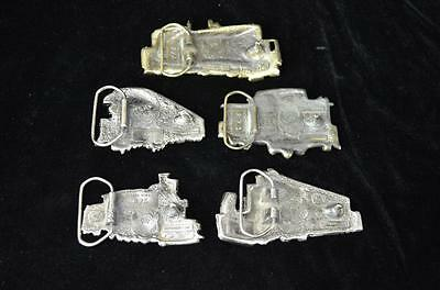 """Set of 5 railroad Belt Buckles """" The Great Chicago"""" by American Buckle Co"""