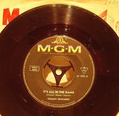 """Tommy Edwards 7"""" It´s All In The Game / Please Love Me Forever -1958 MGM 61 040"""