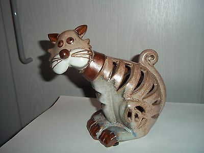 Large Brown, Beige Ceramic  Pottery Cut-Out Cat Ornament