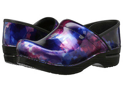 Dansko PROFESSIONAL Womens Watercolor Patent Leather Slip On Clogs Shoes
