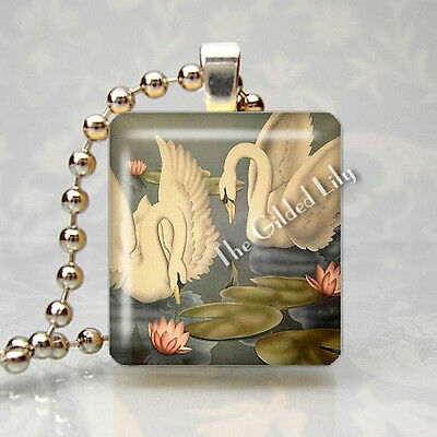 VINTAGE TURNER SWAN PRINT Scrabble Tile Altered Art Pendant Jewelry Charm