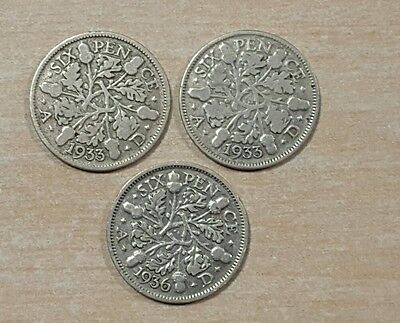 Three sixpence coins - 1933 (×2) & 1936 (George V) *Ideal for Christmas puds!*