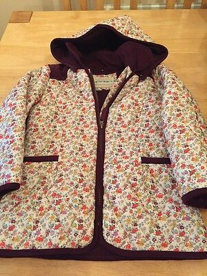 Marks & Spencer Girls Quilted Coat Floral Print Hood Age 5-6 Yrs NWOT