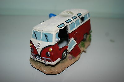 Aquarium VW Camper Van Red Decoration 16.5 x 11 x 8.5 cms To Clear