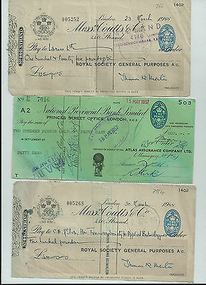 Selection Of Old Bank Cheques See Scans