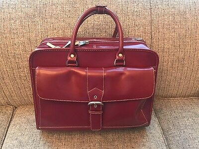 FRANKLIN COVEY 365 Red Leather Wheeled Briefcase Laptop Case Bag Handle Carry On