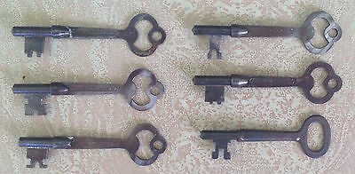 "Set of 6 Antique Door Keys, 5 Norwalk Lock Co.(3"") & 1 Unsigned (2-11/16'), Good"