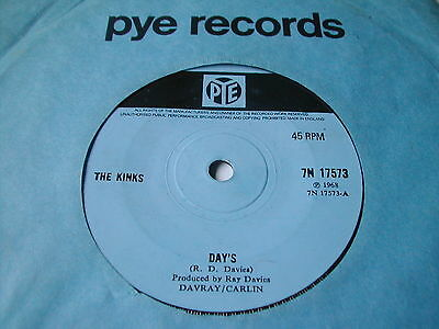 """The Kinks - Days - Pye 7"""" Solid Centre"""