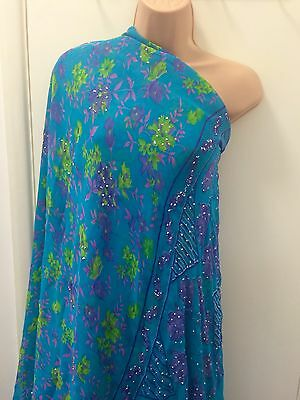 Beautiful Beaded Floral Saree Fabric Blue Purple Green Pink