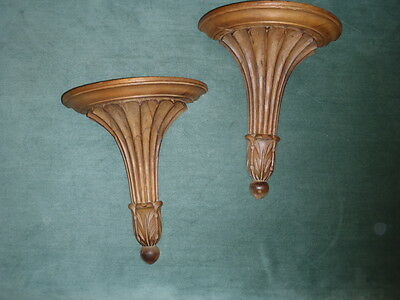 Two Florentia Vintage Italian Hand Carved Sconces