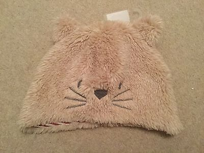 Boys / girls soft furry brown cat hat with pointed ears BNWT size 0 - 3 months