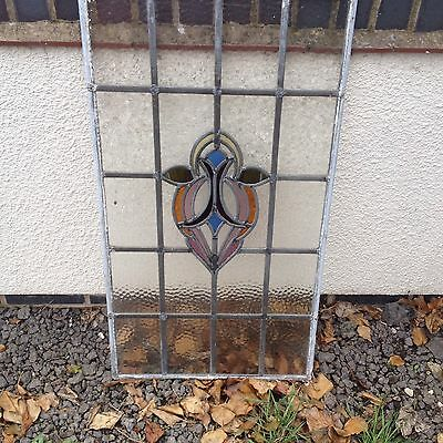 Art Deco Stained Glass Window Panel Leaded Stained Glass Antique - Vintage