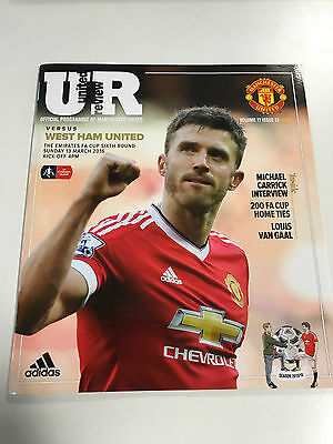 United Review - Manchester United V West Ham programme 2016 Michael Carrick