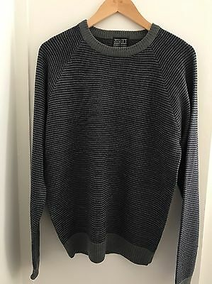 NEW Grey Jumper Men's Size Small Cotton Charcoal Grey Knitted