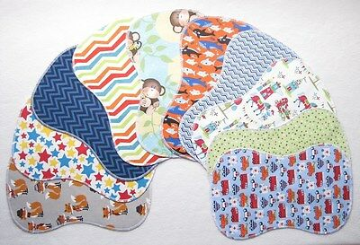 10 New Baby Boy Double Flannel Burp Cloths Lot Shower Gift