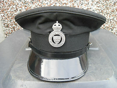 Police vintage obsolete hat with WW2 Kings crown West Sussex Constabulary badge