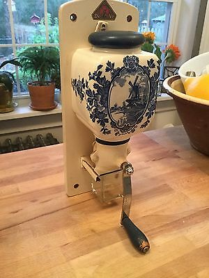 Dutch Blue Delft Ceramic Wall Mounted Coffee Grinder
