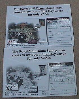 1998 Royal Mail Diana Stamp First Day Cover Advertisement Envelopes Westminster