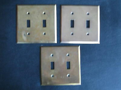 Vtg Solid Brass 2 toggle switch plates, Set of 3