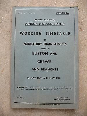 BR London Midland Region Working Timetable Section CA Mandatory May 1979 WTT