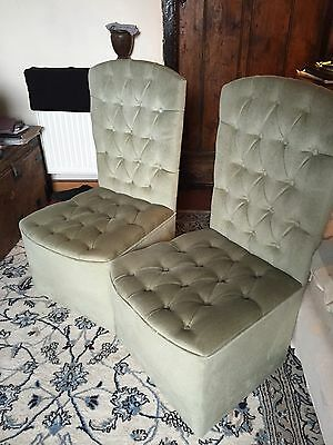 Pair Of Green Retro Bedroom Chairs, Col SY112AE