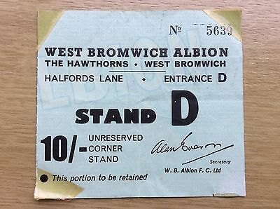 Football Ticket/Stub: West Bromwich Albion - 1960s /1970s?