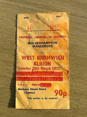 Football Ticket/Stub West Bromwich Albion v. Wolverhampton Wanderers March 1973
