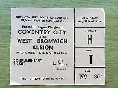 Football Ticket/Stub - Coventry City v. West Bromwich Albion - 17 March 1972