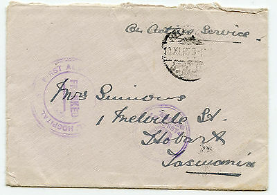 Australia WW1 10th Nov 1915 Env from Egypt with HOSPITAL cachet to Tas
