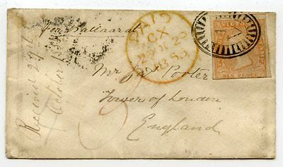 """Victoria 1855 tiny cover Melbourne to GB carried by Clipper """"Ballaarat"""", fine"""