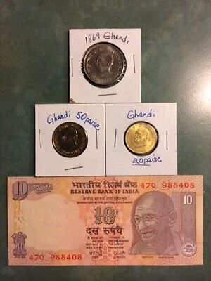 Assorted currency commerative of Ghandi, 10 rupee, 1 rupee, 50 paise, 20 paise