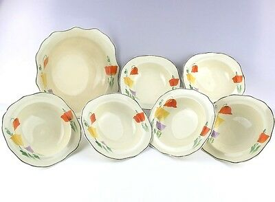 Vintage Fruit Bowl and 6 Dishes Art Deco type  Handpainted Poppies Very Pretty