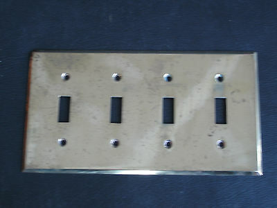 Vtg Hubble Solid Brass 4 Toggle Switch Plate, Hard to Find!