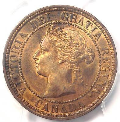1882-H Canada Victoria Penny One Cent Coin (1C) - Certified PCGS MS62 (BU UNC)